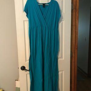 Lane Bryant Teal V-neck Maxi Dress 26/28